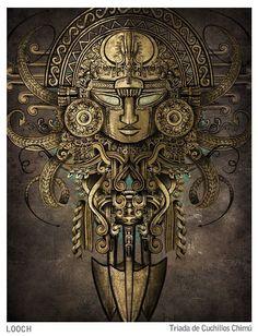 Mayan Tattoos, Inca Tattoo, Chicano Drawings, Chicano Art, Aztec Warrior Tattoo, Inca Art, Aztec Tattoo Designs, Mexican Artwork, Peruvian Art