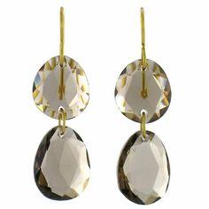 Boucles d'oreilles Iris en quartz fumé et or 20 carats. Pierre fine, poids or 0.65 g dimension : 4 cm
