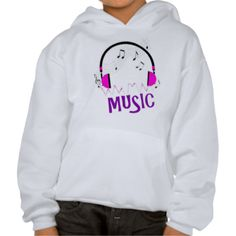 """A funky, fun music themed graphic in bright pink and purple colors; head phones, music notes, sound waves and text which reads """"MUSIC"""", very cool and trendy. A favorite with musicians, DJ's and music lovers."""