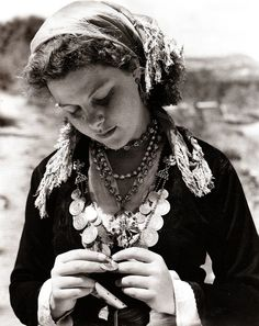 CRETE Young woman in traditional costume, 1941. Photo by B. Anthony Stewart