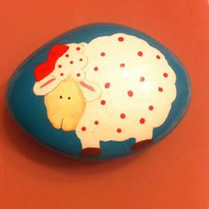 Sheep painted rock