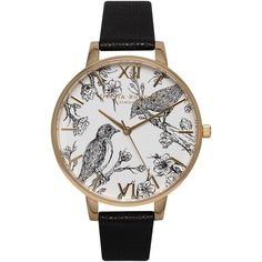 Olivia Burton OB15AM65 Women's Animal Motifs Birds Leather Strap... found on Polyvore featuring jewelry, watches, black and white watches, animal print jewelry, water resistant watches, roman numeral jewelry и animal print watches