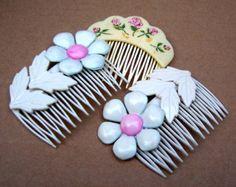 Vintage hair combs 3 white flower hair accessories hair barrette hair slide hair clip hair pin hair decoration hair jewelry hair pick