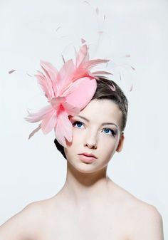 Baby pink feathered headpiece perfect for a by Rose Young Millinery. #passion4hats