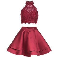 Alyce 3735 Prom Short Dress Mini Halter Sleeveless (£135) ❤ liked on Polyvore featuring dresses, formal dresses, wine, 2 piece homecoming dresses, formal cocktail dresses, red lace cocktail dress and lace cocktail dresses