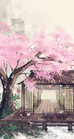 Scenery Wallpaper, Galaxy Wallpaper, Wallpaper Backgrounds, Background Drawing, Background Pictures, Oriental Wallpaper, Cherry Blossom Wallpaper, Château Fort, Mystique