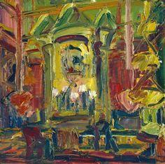 "Frank Auerbach - ""Rimbaud"", 1976 - Oil paint on wood - 382 x 382 mm."