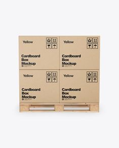 Wooden Pallet With Kraft Cardboard Boxes Mockup Euro Pallets, Wooden Pallets, Cardboard Cartons, Cardboard Boxes, Box Mockup, Creative Words, Packaging Design, Your Design, Side View