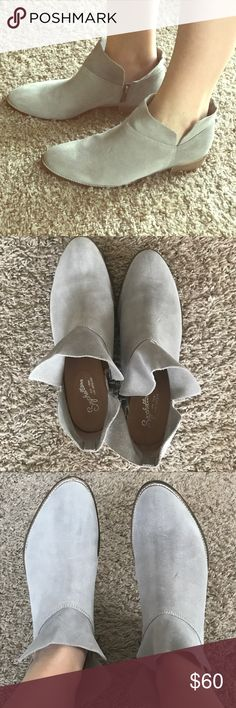 Seychelle's exclusively for Stitch Fix Gray Boots Gray Suede Booties size 9.5 from Stitch Fix. Super comfy. Worn ONCE! I just have too many shoes. So cute with jeans or dresses! No stains or tears or marks-- just slightly worn on the bottom from my one outing as seen in the pics. Make me an offer xo! Seychelles Shoes Ankle Boots & Booties
