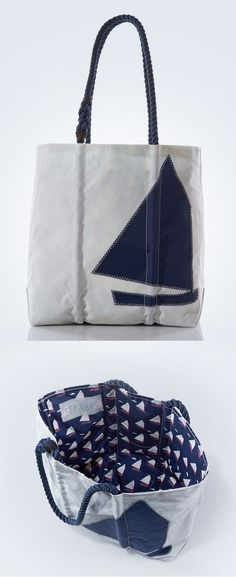Navy Beetle Cat Boat Tote - Handcrafted from Recycled Sails. Nautical Gifts, Nautical Style, Nautical Fashion, Purse Wallet, Pouch, Beach Bag Essentials, Sailing Outfit, Handmade Handbags, Best Bags