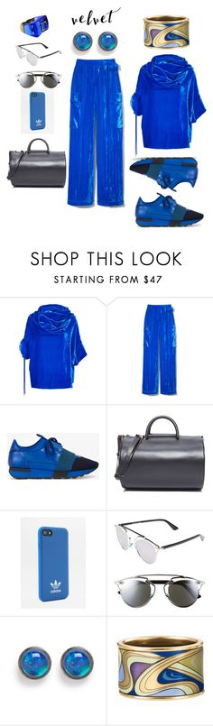 """blue velvet"" by moestesoh ❤ liked on Polyvore featuring Monse, Balenciaga, Building Block, adidas, Christian Dior, Astley Clarke and Baccarat"