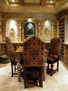 """We sell similar tables  chairs to our design clients seeking European  Tuscan style for dining room, kitchen or as shown in this inspirational wine cellar"" Carolyn Williams, Antiques  Interiors, Atlanta,  Roswell, GA"