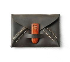 Upcycled Leather Wallet with Wood Clasp by Ophilya on Etsy, $58.00