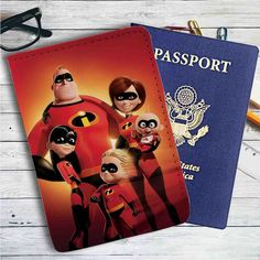 The Incredibles Family Leather Passport Wallet Case Cover