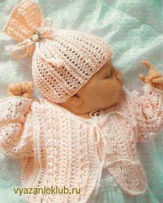 Ажурная кофточка и шапочка для девочки от 0 до 1 года - Для детей до года - Каталог файлов - Вязание для детей