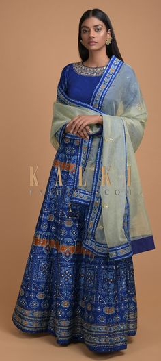 Sapphire blue lehenga choli in silk with tribal print. Embellished with pita zari, sequins and abla work. Blue Lehenga, Lehenga Choli, Sari, Green Fabric, Online Work, Tribal Prints, Indian Outfits, Blue Sapphire, Sequins