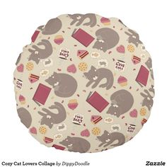 Cozy Cat Lovers Collage Round Pillow