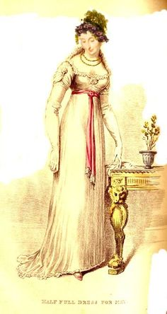 "Jane's primrose gown with demi-train. From the 1813 La Belle Assemblee ""Frock of plain jacconet muslin, with a demi train; body of amber and white shot sarsnet, made in the same manner as last month, except that the waist is a little shorter; the sleeve, which is of a jacconet muslin, is very full, and is looped up with a floss silk ornament in the shape of a heart ... """