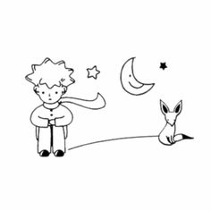 Dailinming The Little Prince Fox Moon Star Decor Mural Art Wall Sticker Decal for sale online Embroidery Art, Embroidery Patterns, Machine Silhouette Portrait, Prince Drawing, Little Prince Fox, Coloring Books, Coloring Pages, Mural Art, Easy Drawings