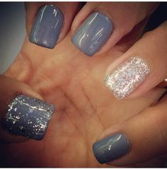 Gelish Clean Slate with Am I Making you Gelish Trends natural nails Gray Nails,  Fall / Winter nails 2016