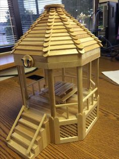 Gazebo made from Popsicle sticks. Made at New Castle Correctional Facility in Indiana. Gazebo made from Popsicle sticks. Made at New Castle Correctional Facility in Indiana. Popsicle Stick Crafts House, Popsicle Crafts, Craft Stick Crafts, Craft Stick Projects, Yarn Crafts, Plate Crafts, Diy Projects With Popsicle Sticks, Popsicle Stick Bridges, Lolly Stick Craft