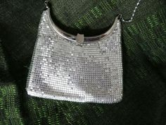 Silver chain mail purse, Silver plated chain, metal oval mouth with clasp, single space interior, satin lining clean and in good condition by SouthWestConcepts on Etsy
