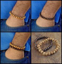 Wood beaded bracelet set ,Single Dark Brown bracelet ,Light Brown ,Men's Jewelry #Handmade #Beaded