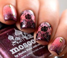 gradient nails and stamping #pink #nailart Download #beautyapp - bellashoot to see more!