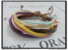 Adjustable Surf Hemp Leather Bracelet Wristband by sevenvsxiao, $4.00
