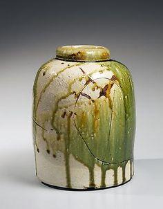 Koie Ryoji.   Oribe vessel Glazed stoneware 10 3/8 x 8 1/4 in. Inv# 8051