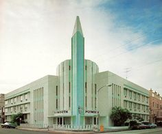 """Plymouth Hotel, Miami, FloridaFrom Tropical Deco  From what Google Street View is showing me, looks like this building is now gone. This intersection does have a bit of Deco, plus a modernist building on stilts. Happy to report, thanks to djh85, that the Plymouth is still very much standing — the location informaiton I had was wrong: """"It's on just 21st Street at Park Avenue, not Northeast 21st.""""  From the book:    Plymouth Hotel - 33621st Street (Anton Skislewicz, 1940."""