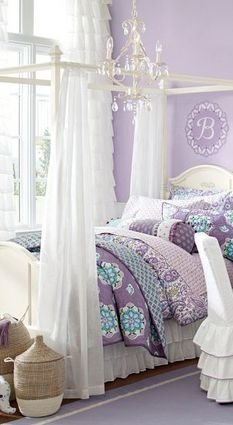 Looking for purple bedroom ideas? It's good, but a purple bedroom will be better when combined with other colors: white, blue and so on, as described here. Teen Girl Bedding, Teen Girl Bedrooms, Little Girl Rooms, Dorm Bedding, Bedding Sets, Dream Rooms, Dream Bedroom, Fairytale Bedroom, Purple Bedrooms