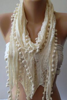 Ivory Beige   Lace and Elegance Shawl / Scarf  with by womann, $15.50