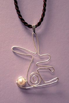 Wire rabbit with pearl cotton-tail
