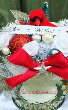 Shabby Chic Cottage Style Holiday Christmas Centerpiece Decoration w/ Cardinal Bird, Vintage China Teacup, Vintage Jewelry, Champagne Glass