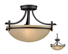 "Somerville 2-light 15"" Oil Rubbed Bronze Semi-Flush Ceiling at Menards -- Possibility for the office"
