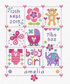 Baby Girl Squares - Baby Birth Sampler Cross Stitch Kit Source by needlecraft Baby Cross Stitch Patterns, Baby Girl Patterns, Cross Stitch Baby, Cross Stitch Kits, Cross Stitch Designs, Cross Stitch Letters, Cross Stitch Samplers, Cross Stitching, Cross Stitch Embroidery