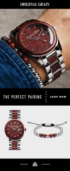 Wood and steel: together again in perfect harmony. Mens fashionable watch that is casual and perfect with a blazzer! Jewelry Accessories, Fashion Accessories, Fashion Jewelry, Men's Jewelry, Jewellery, Cool Watches, Watches For Men, La Mode Masculine, Luxury Watches