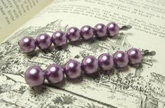 Lavender Pearl Bobby Pins by JMEBeads on Etsy, $5.00