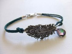 Mystical Peacock Jewelry Bracelet in Antique Silver, Feather, Gift for Her, Fashion. $26.00, via Etsy.