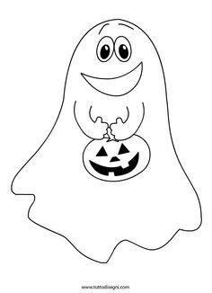 Fantasma Halloween con zucca - TuttoDisegni.com