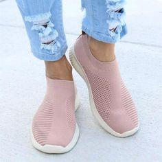 Women Shoes Plus Size 43 Women Vulcanize Shoes Fashion Slip On Sock Shoes Female Mesh White Sneakers Flat Casual Tenis Feminino Moda Sneakers, Sneakers Mode, Running Sneakers, Slip On Sneakers, White Sneakers, Slip On Shoes, Flat Shoes, Snow Sneakers, Running Shoes