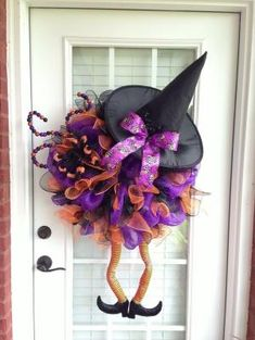 Deco Mesh Wreath Witch by Virginia Quilling