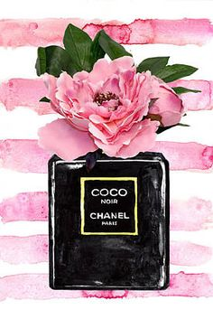 Chanel noir perfume with pink peony Art Print by Green Palace. All prints are professionally printed, packaged, and shipped within 3 - 4 business days. Choose from multiple sizes and hundreds of frame and mat options. Photo Deco, Applis Photo, Black And White Aesthetic, Pink Aesthetic, Chanel Wallpapers, Coco Chanel Wallpaper, Chanel Poster, Chanel Wall Art, Chanel Perfume