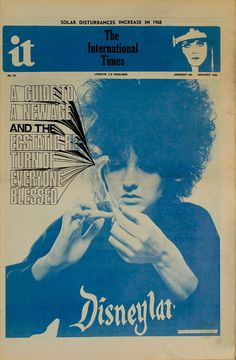 IT, January 1968. The zine which launched the British Underground Press Movement. Front Cover Designs, Magazine Front Cover, New Blue, Psychedelic Art, Blue Aesthetic, Editorial Design, Installation Art, Trippy, Cover Art