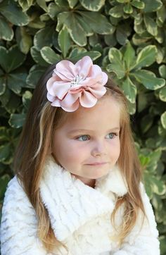 PLH Bows & Laces Large Satin Flower Headband (Baby Girls) available at #Nordstrom
