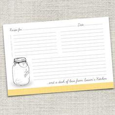 Mason Jar Recipe Card PRINTABLE Meals In A Jars