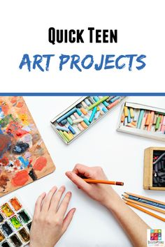 Quick Teen Art Ideas  It's true that art projects take additional planning, but they don't all have to take days or even hours to complete. If you're looking for art projects that your older kids will enjoy, but won't take much time to complete, give one of these a try.  Great DIY idea for middle school homeschoolers.