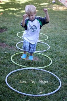 Hula hoop games on pinterest gym games parachute games for Gross motor activities for 1 year olds