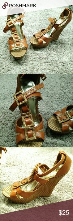 $20/OBO Cognac Strappy Wedges Only worn once. Wedge height about 4 inches. Shoes Wedges